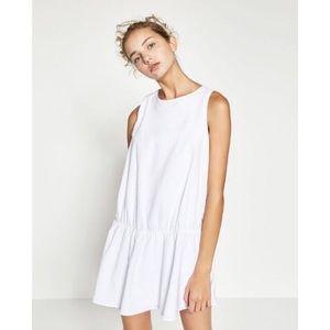 Zara White Poplin Elastic Drop Waist Mini Dress